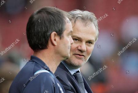 West Ham United Technical Director Gianluca Nani Right Talks with Steve Clarke United Kingdom London