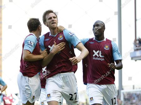Calum Davenport of West Ham Celebrates with Team Mates United Kingdom London