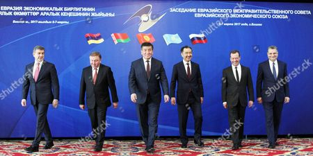 Stock Image of (L-R) Chairman of Board of the Eurasian Economic Commission (EEC) and Prime Minister of the Republic of Armenia Karen Karepetyan, Prime Minister of Belarus Andrei Kobyakov, Prime Minister of Kyrgyzstan Sooronbay Jeenbekov, Prime Minister of the Republic of Kazakhstan Bakhytzhan Sagintayev, Prime Minister of the Russian Federation Dmitry Medvedev, and Chairman of the board of the Eurasian Economic Commission (EEC) Tigran Sargsyan pose for a group portrait during the Eurasian Intergovernmental Council session in Bishkek, Kyrgyzstan, 07 March 2017. The Intergovernmental Council is a body of the Eurasian Economic Union (EAEU), consisting of the Prime Ministers of member-states: Armenia, Belarus, Kazakhstan, Kyrgyzstan and Russia. During the meeting, the council reached an agreement on the the framework of a free-trade agreement between the EAEU and Iran.