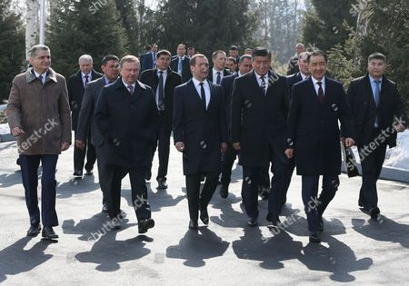 (L-R, front) The Eurasian Economic Commission Board Chairman Tigran Sargsyan, Belarus Prime Minister Andrei Kobyakov, Russian Prime Minister Dmitry Medvedev, Kyrgyz Prime Minister Sooronbay Jeenbekov, and Kazakhstan's Prime Minister Bakytzhan Sagintayev walk after the Eurasian Intergovernmental Council meeting in Bishkek, Kyrgyzstan, 07 March 2017. The Intergovernmental Council is a body of the Eurasian Economic Union (EAEU), consisting of the Prime Ministers of member-states: Armenia, Belarus, Kazakhstan, Kyrgyzstan and Russia. During the meeting, the council reached an agreement on the the framework of a free-trade agreement between the EAEU and Iran.