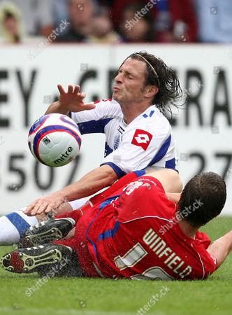 Former Qpr Manager Gareth Ainsworth Crashes Into David Winfield of Aldershot Town United Kingdom Aldershot