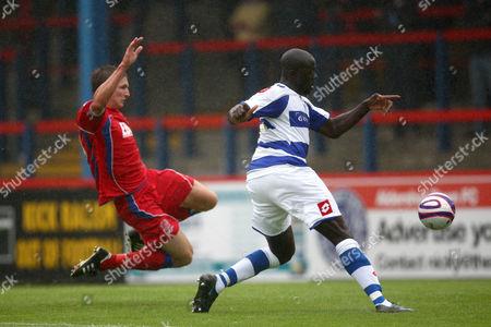Patrick Agyemang of Qpr Scores the Third Goal Ahead of David Winfield of Aldershot Town United Kingdom Aldershot