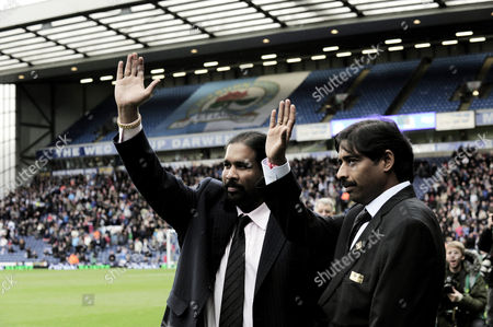 Brothers Balaji and Venkatesh Rao of Blackburn Rovers Are Introduced to the Fans Before Kick Off United Kingdom Blackburn