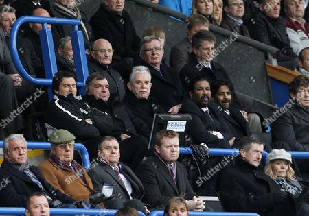 The New Blackburn Rovers Ownwers and Directors of Venky's Balaji Rao and Venkatesh Rao in the Stand Alongside Manager Sam Allardyce and Chairman John Williams United Kingdom Blackburn