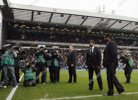 The New Blackburn Rovers Ownwers and Directors of Venky's Balaji Rao and Venkatesh Rao On the Pitch Before the Game United Kingdom Blackburn
