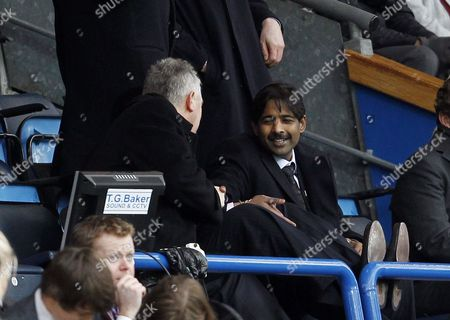 Chairman John Williams Shakes Hands with the New Blackburn Rovers Owner and Director of Venky's Venkatesh Rao After the Opening Goal of the Game United Kingdom Blackburn