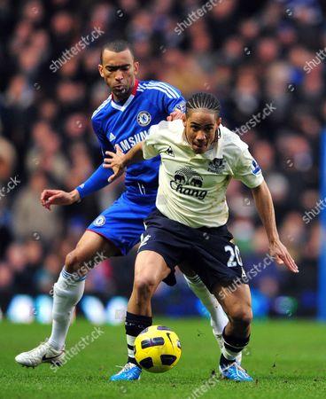 Stock Image of Stephen Pienaar of Everton and Jose Bosingwa of Chelsea United Kingdom London