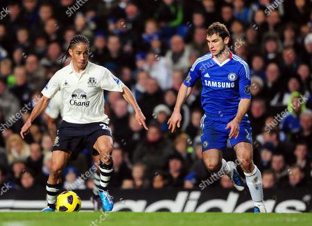 Stock Picture of Stephen Pienaar of Everton and Branislav Ivanovic of Chelsea United Kingdom London
