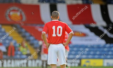 In the Week When Manchester United Number 10 Wayne Rooney Threated to Leave the Club Then Decided to Sign A New Five Year Contract Fc United of Manchester Number 10 Jerome Wright Turned out For His Team in the Fa Cup 4th Qualifying Round United Kingdom Bury