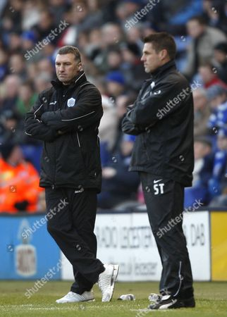 Stock Image of Nigel Pearson the Manager of Leicester City and Steve Tilson the Manager of Southend United United Kingdom Leicester