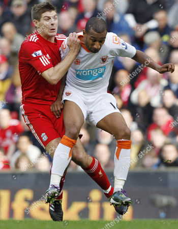 Elliot Grandin of Blackpool Crashes Into Steven Gerrard of Liverpool United Kingdom Liverpool