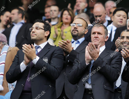 Manchester City Chairman Khaldoon Al Mubarak and Chief Executive Garry Cook Applaud Their Team United Kingdom Manchester