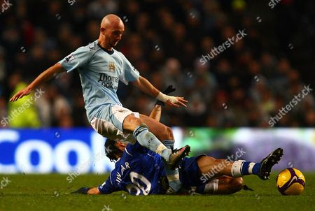 Stephen Pienaar of Everton Tackles Stephen Ireland of Manchester City United Kingdom Manchester