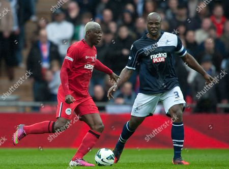 Arouna Kone of Wigan Athletic and Danny Shittu of Millwall United Kingdom London