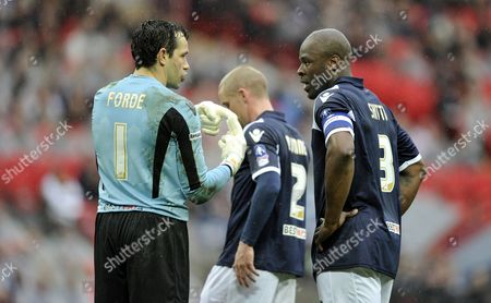 Millwall Goalkeeper David Forde Talks to Danny Shittu United Kingdom London