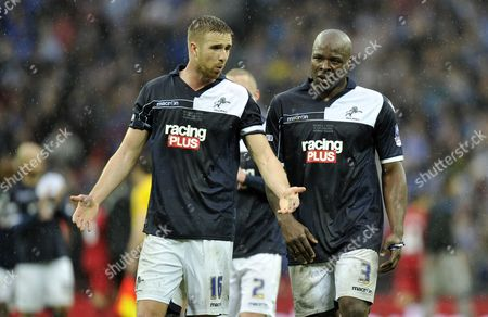 Mark Beevers and Danny Shittu of Millwall Talk at Full-time United Kingdom London