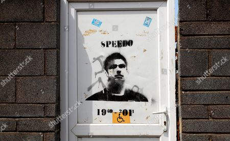 A Tribute to the Late Gary Speed Painted On A Door On the Exterior of the Genquip Stadium Home of Port Talbot United Kingdom Port Talbot