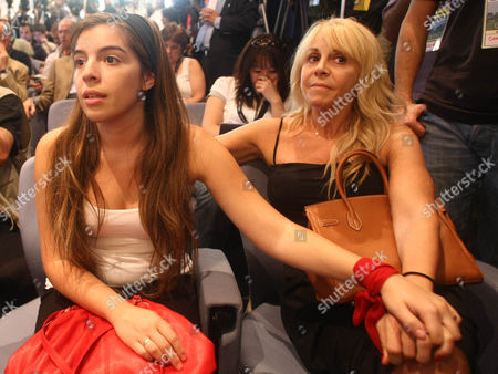 Stock Photo of The Daughter of Diego Maradona Dalma and His Ex Wife Claudia Villafane Look On During the Press Conference Announcing Him As the New Coach of Argentina Argentina Buenos Aires