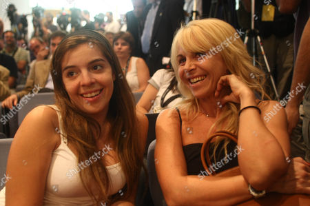 Stock Picture of Dalma Maradona the Daughter of Diego and His Ex Wife Claudia Villafane Look On During the Press Conference Announcing Him As the New Coach of Argentina Argentina Buenos Aires
