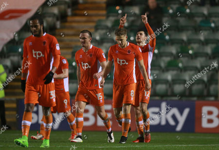 GOAL CELEBRATIONS for Blackpool's Jordan Fiores  during the Sky Bet League 2 match between Plymouth Argyle and Blackpool on Tuesday 7h March 2017 at Home Park, Plymouth, Devon - Photo: Dave Rowntree/PPAUK