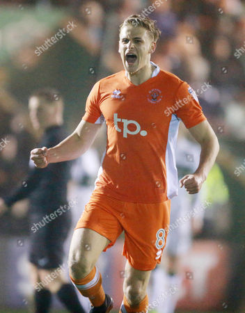 GOAL CELEBRATIONS for Blackpool's Brad Potts 2-0 during the Sky Bet League 2 match between Plymouth Argyle and Blackpool on Tuesday 7h March 2017 at Home Park, Plymouth, Devon - Photo: Dave Rowntree/PPAUK