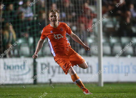 GOAL CELEBRATIONS for Blackpool's Mark Cullen   during the Sky Bet League 2 match between Plymouth Argyle and Blackpool on Tuesday 7h March 2017 at Home Park, Plymouth, Devon - Photo: Dave Rowntree/PPAUK