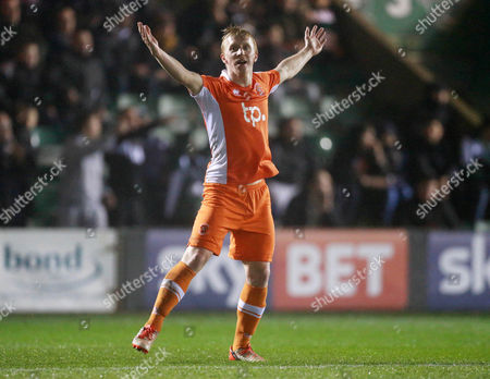 GOAL CELEBRATIONS for Blackpool's Mark Cullen  1-0  during the Sky Bet League 2 match between Plymouth Argyle and Blackpool on Tuesday 7h March 2017 at Home Park, Plymouth, Devon - Photo: Dave Rowntree/PPAUK