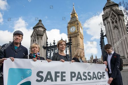 From left: Rhys Ifans, Tracey Seaward and Juliet Stevenson join campaigners in Parliament Square to call on the government to reinstate the Dubs amendment.