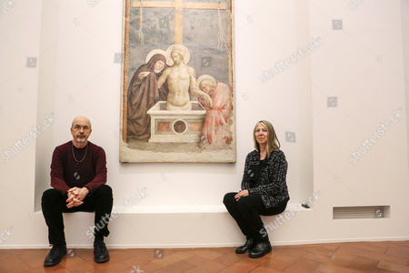 Stock Photo of Bill Viola with his wife and the organizer of exhibition, Kira Perov