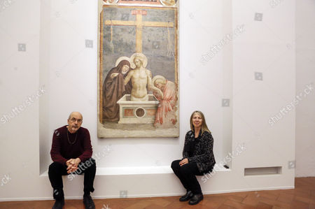 Stock Picture of Bill Viola with his wife and the organizer of exhibition, Kira Perov