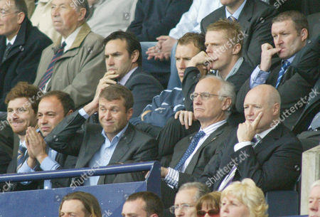 A nervous Chelsea Director's box, inluding a very anxious owner Roman Abramovic (centre) during the first half