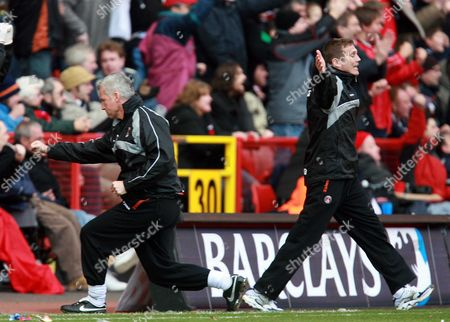 Charlton Athletic manager Alan Pardew and his assistant Steve Tilson celebrate the scoring of the second goal