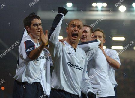 Stellios Giannakopoulos celebrates Bolton Wanderers goal scored by Khalilou Fadiga