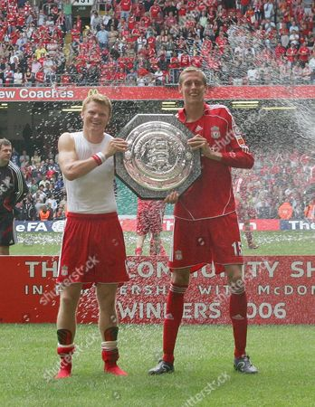 Liverpool scorers John Arne Riise, left and Peter Crouch with the Community Shield
