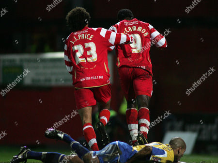 Mark McCammon of Doncaster Rovers turns to celebrate scoring the first goal
