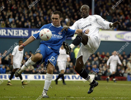 30 January 2005 - Oldham Athletic 's Lee Croft clears from Bolton Wanderers Khalilou Fadiga
