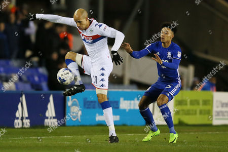 Gabriel Obertan of Wigan Athletic and Ryan Shotton of Birmingham City during the Sky Bet Championship match between Birmingham City and Wigan Athletic played at St Andrews Stadium, Birmingham on 7th March 2017