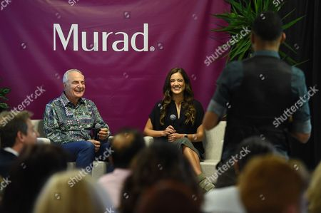 Dr. Howard Murad; Dr. Claudia Aguirre Murad skincare founder, Dr. Howard Murad and Dr. Claudia Aguirre speak to employees about a new brand campaign called EyesUp that educates on the dangers of digital-only relationships and the importance of human connection during a launch event at Murad headquarters, in El Segundo, Calif