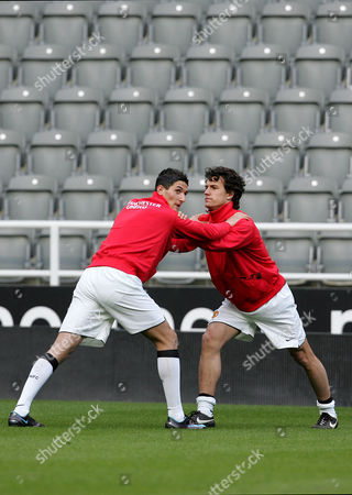 Stock Picture of Frederico Macheda and Rodrigo Possebon of Manchester United Reserves