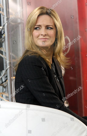 BBC TV presenter Gaby Logan sits in the BBC studio before the match