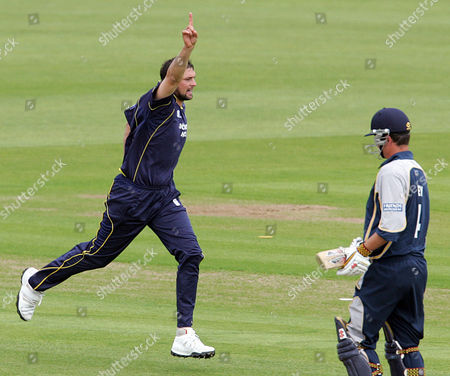Steve Harmison of Durham Dynamos celebrates the wicket of Robert Key of Kent Spitfires