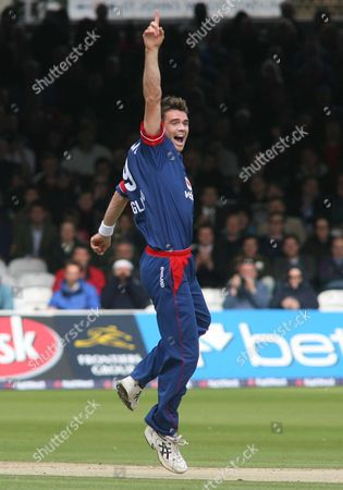 Stock Picture of James Anderson of England appeals and gets the wicket of Marlon Samuels, caught by wicketkeeper Matthew Prior, for nought