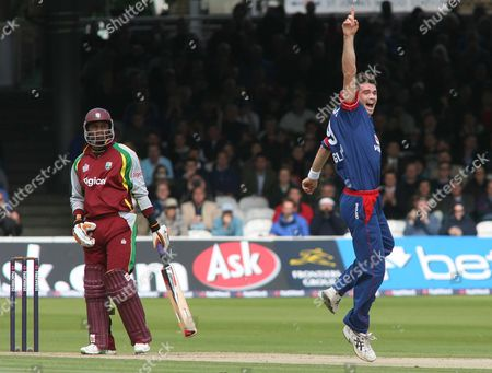 James Anderson of England appeals and gets the wicket of Marlon Samuels, left, of the West Indies, caught by wicketkeeper Matthew Prior, for nought
