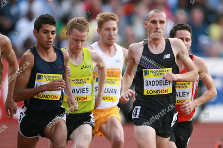 Tom Lancashire, Stephen Davies and Andrew Baddeley of Great Britain in the Men's 1500m