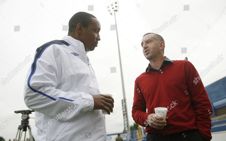 Blackburn Rovers manager Paul Ince talks with newly appointed defensive coach Nigel Winterburn