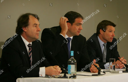 Stock Photo of L-R RFU Chief Executive Francis Baron England team manager Martin Johnson and RFU Director of Elite Rugby Rob Andrew