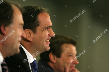 Stock Image of L-R RFU Chief Executive Francis Baron England team manager Martin Johnson and RFU Director of Elite Rugby Rob Andrew