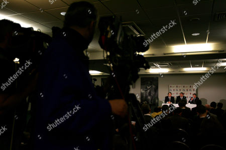 Stock Picture of L-R RFU Chief Executive Francis Baron England team manager Martin Johnson and RFU Director of Elite Rugby Rob Andrew face a packed press conference at Twickenham