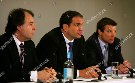 L-R RFU Chief Executive  Francis Baron, England team manager Martin Johnson and RFU Director of Elite Rugby Rob Andrew