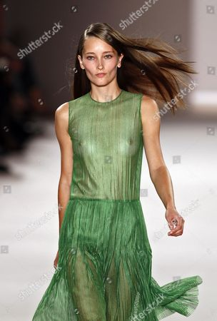 Stock Photo of Dutch Model Iekeliene Stange Presents a Creation by Akris During the Paris Fashion Week Ready-to-wear Spring/summer 2012 in Paris France 02 October 2011 the Fashion Week Runs From 27 September to 05 October France Paris